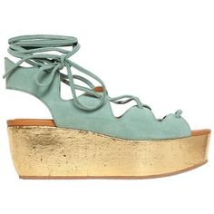 SEE BY CHLOE' 70mm Suede Lace-Up Wedge Sandals