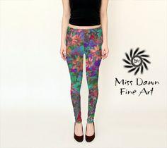 Funky Flower Art legging, geschilderde bloem afdrukken Art legging, kunstzinnige vrouw Leggings, Art Yoga broek, creatieve Activewear voor vrouwen, mode
