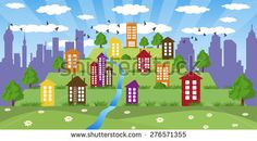Illustration of cityscape with colorful tower on hill