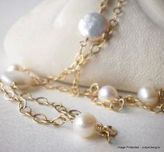 Gold filled pearl necklace, 31.5 inches long