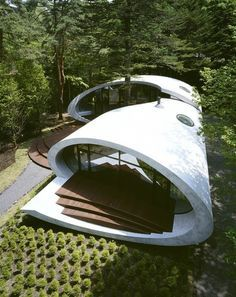 Shell House, Nagano, Japan by Kotaro Ide © Nacasa & Partners Inc architecture japan forest - Hotels Design Architecture Organic Architecture, Futuristic Architecture, Beautiful Architecture, Residential Architecture, Landscape Architecture, Interior Architecture, Japan Architecture, Futuristic Houses, Building Architecture
