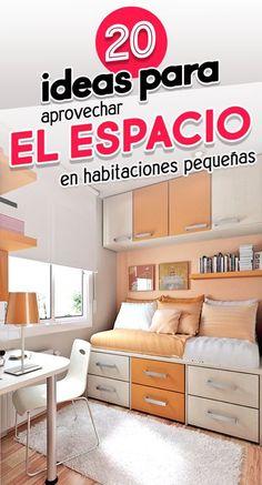 20 Ideas para habitaciones pequeñas. Decoración. Room. Home decor. Kichen Design, Interior Deco, Bed Design, Bedroom Bed Design, Bedroom Decor, Bedroom Renovation, Room Design Bedroom, Home Decor, Small Space Bedroom