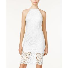 Guess Freja Lace Halter Dress ($85) ❤ liked on Polyvore featuring dresses, true white, white halter dress, halter neck dress, lace halter dresses, white halter neck dress and lace halter neck dress