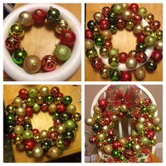 Christmas craft. A bunch of Christmas bulbs to make a super cute wreath! Maybe for aunt Alisha or mom??
