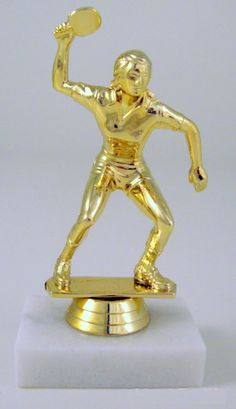 """You can ping, you can pong, you can give this great award to the winner of your Table Tennis Tournament. 4.5"""" Tall gold colored figure on a genuine marble base. Your custom message is engraved on a go"""