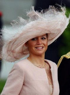 (dpa) - Dutch crown princess Maxima smiles as she arrives under a cloudy sky at the Almudena Cathedral for the wedding of Spanish crown prince Felipe and Letizia Ortiz in Madrid, Spain, Saturday 22 May Royal Dutch, Kentucky Derby Hats, Fancy Hats, Wearing A Hat, Love Hat, Queen Maxima, Madame, Hats For Women, Ladies Hats