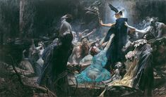 Souls on the Banks of the Acheron is a Symbolist Oil on Canvas Painting created by Adolf Hirémy-Hirschl in It lives at the Belvedere Palace and Museum, Vienna in Vienna. The image is in the Public Domain, and tagged Death in Art. Classic Paintings, Old Paintings, Art Et Illustration, Illustrations, Mythology Paintings, Renaissance Kunst, Gustave Dore, Art Database, Classical Art