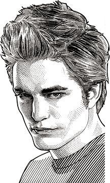 Wall Street Journal portrait (hedcut) of Robert Pattinson
