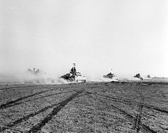 Crusader tanks moving toward the front lines during the Second Battle of El Alamein, 24 Oct 1942