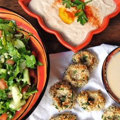 Walnut Falafel with Minted Tabouli, Hummus & Garlic Tahini Dressing from our January VegCookbook, Crazy, Sexy Kitchen.