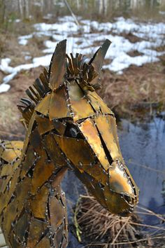 """Kevät"", kierrätysmetallista hitsattu varsa ""Spring"" the foal, welded, recycled metal"