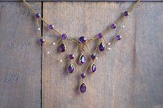 A Victorian Amethyst Drop Necklace Via Jogani