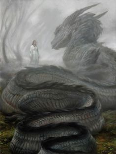 Nienor and Glaurung (Silmarillion / Children of Hurin) Snake Dragon, Tiny Dragon, White Dragon, Demon Dragon, Fantasy Dragon, Green Dragon, Beautiful Dragon, Dragon Mythology, Snake Painting