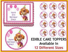 Paw Patrol SKYE party Edible Cake Image Cupcake Topper Quarter Half 12 Sheets Sizes Available