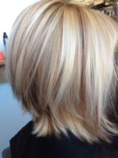 Gorgeous blonde bob with lowlights. (Like how longer layers flip out underneath...maybe later for growing out)