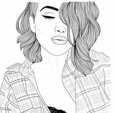 girl, outline, and drawing Bild