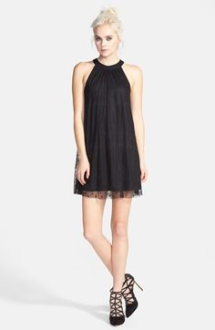 ASTR High Neck Lace Overlay Shift Dress available at #Nordstrom. Love this for a night out. I would, actually, consider this a top and wear it with tights or leggings underneath.  If it's closer to your va-j-j than it is your knees, it's not a dress!