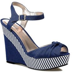 Navy Blue & White Striped Peep Toe Clemence Canvas Wedges ($29) ❤ liked on Polyvore featuring shoes, heels, navy blue, peep toe wedge shoes, navy shoes, strappy shoes, strap shoes and platform shoes