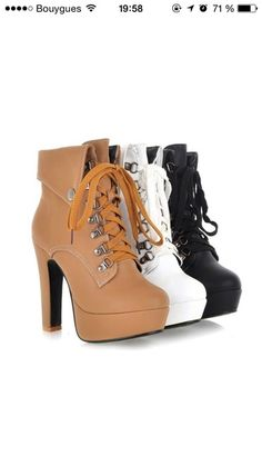 boots brown black white high heels timberlands cute high heels