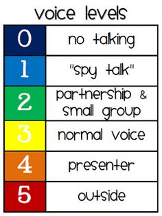 Classroom Management Idea~  Explain using appropriate voice levels, and then use simple hand reminders-- hold up two fingers-- to signal the expected change in volume.  Level one, spy talk, is a cute way for kids to remember that no one but their nearby partner should hear what they are saying!