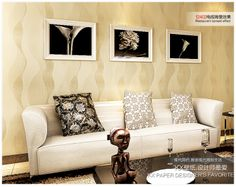 3D PVC Wallpaper modern brief wave stripe wallpaper gold silver non woven tv background wallpaper 53cm*10meters/roll-inWallpapers from Home Improvement on Aliexpress.com