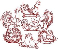 Redwork Hand Embroidery Patterns | Redwork Chicken Set (Now 30% Off!)