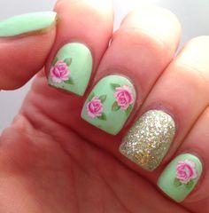 Rosey nails glitter nail roses nail art green nails nail ideas nail designs