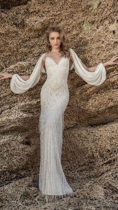 dany mizrachi 2018 bridal spaghetti strap sweetheart neckline full embellishment elegant sexy sheath wedding dress sweep train (9) mv -- Dany Mizrachi 2018 Wedding Dresses
