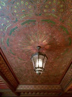 Elaborate painted wood ceiling. Wow!