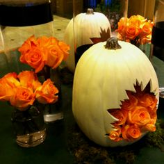 Autumn Wedding Decor Inspiration || Carve a pumpkin so flowers may fall out of it.