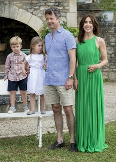 The then three-year-old twins visited the Danish royal residence Chateau de Cayx for a pho...