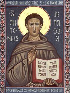 Anthony of Padua Catholic Saints, Patron Saints, Religious Icons, Religious Art, Saint Antonio, Saint Anthony Of Padua, St Clare's, Religious Paintings, Byzantine Icons