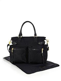 Rebecca Minkoff Zoe Leather Trim Diaper Bag In Black Black Diaper Bag, Diaper Bags, Changing Pad, Birkin, Maternity Fashion, Baby Pictures, Bag Making, 5 D, Rebecca Minkoff
