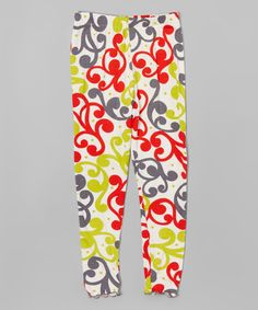 Another great find on #zulily! Chatreuse Abstract Leggings - Toddler & Girls by Mis-Tee-V-Us #zulilyfinds