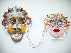 Pair of SEASHELL ART MASKS -  When Harry Met Sally. $350.00, via Etsy.  Amazing masks by Shannon Webster!