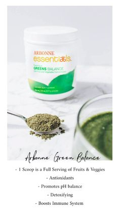Want a quick and simple way to supplement your fruits and vegetables each day? 1 scoop is a of Greens Balance is a FULL serving of fruits and veggies! #ArbonneEssentials