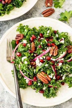 Kale Salad with Pomegranate and Pecans