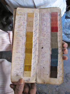 Sample book of natural dyes for weaving, atelierom.blogspot.ca