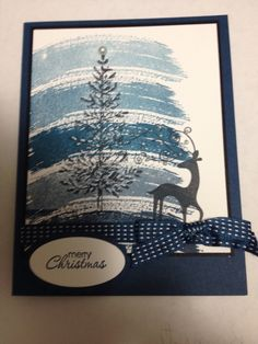 Christmas card using Stampin Up Work of Art stamp set and Lovely as a Tree.