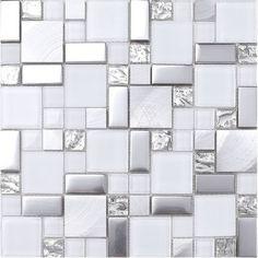 """White Gray Metal Glass Mosaic Kitchen Backsplash Tile, 12"""" X12"""" Sheet modern-tile"""