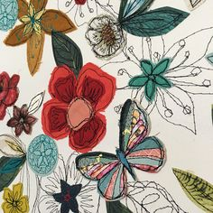 Beetles bugs and butterflies By Amanda Wood Lovingly and carefully created using a selection of vintage fabrics, wallpapers and printed papers(some designed by myself) with plenty of stitching added! This piece is a beautiful garden design with butterflies, beetle and bees and