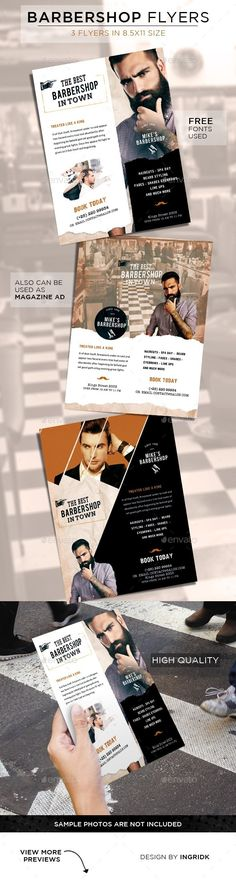 Barbershop Vintage Flyers — Photoshop PSD #man #trimmers • Available here → https://graphicriver.net/item/barbershop-vintage-flyers/11250101?ref=pxcr