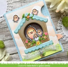 Card Making Inspiration, Making Ideas, Pop Up, Lawn Fawn Blog, Karten Diy, Owl Family, Lawn Fawn Stamps, Interactive Cards, Pink Bird