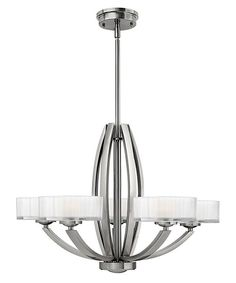 Meridian 3875BN. 5 lt chandelier with opal glass shades with brushed nickel finish. H: 470mm W: 686mm P: Max Wattage: 5x60w G9 IP Rating: Anti-Corrosion Guarant