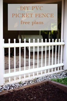 Want a long lasting outdoor picket fence? Check out our website for free plans and instructions of how to build a PVC picket fence.  #picketfence #pvcfence #patiodecor #outdoorliving #diyfence