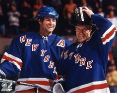 Eric Lindros and Mark Messier-New York Rangers Eric Lindros, Mark Messier, Rangers Hockey, Los Angeles Kings, Vancouver Canucks, National Hockey League, New York Rangers, Hockey Players, Ice Hockey
