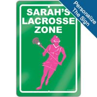 """Create a lacrosse theme in any room with this 18"""" X 12"""" aluminum room sign. We can personalize this sign with your lacrosse player's information! A great gift for an avid lacrosse player, fan or coach!"""