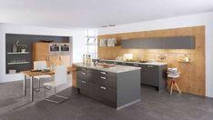 cuisine grise et bois avec ilot