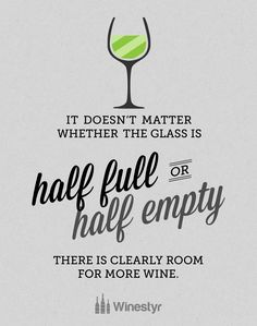 It Doesn T Matter Whether The Gl Is Half Full Or Empty There Clearly Room For More Wine Saying Sentiment