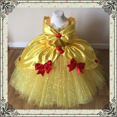 The Original Princess Belle from Beauty and the Beast Inspired Tutu Dress Ball Pageant Costume Luxury Satin Gown Yellow Red Roses Gold Tutu Baby Belle Costume, Princess Belle Costume, Princess Tutu, Disney Princess, Ball Dresses, Flower Girl Dresses, Quince Dresses, Tutu Dresses, Beauty And Beast Birthday